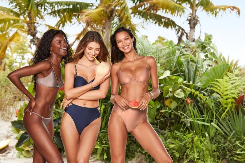 Leomie Anderson, Lorena Rae and Lais Ribeiro front Victoria's Secret Swim summer 2019 campaign