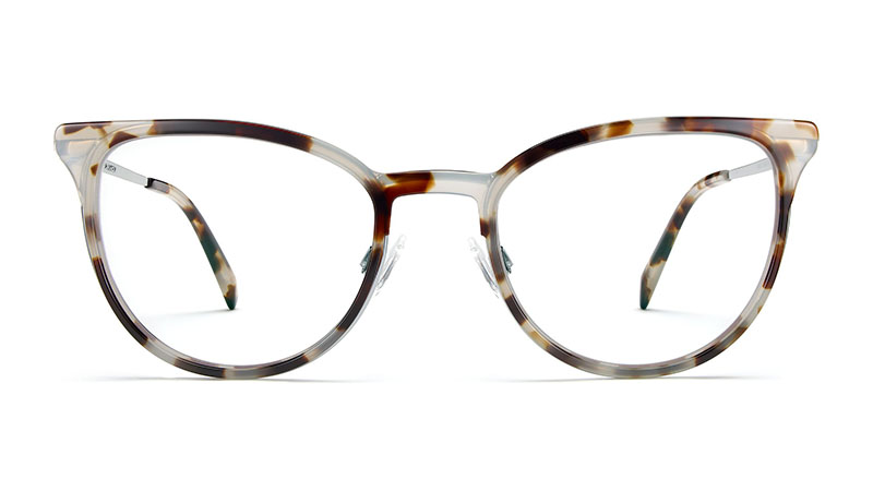 Warby Parker Lindley Glasses in Pearled Tortoise with Lilac Silver $145