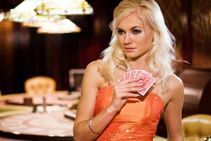 Blonde Woman Card Game Casino Orange Dress