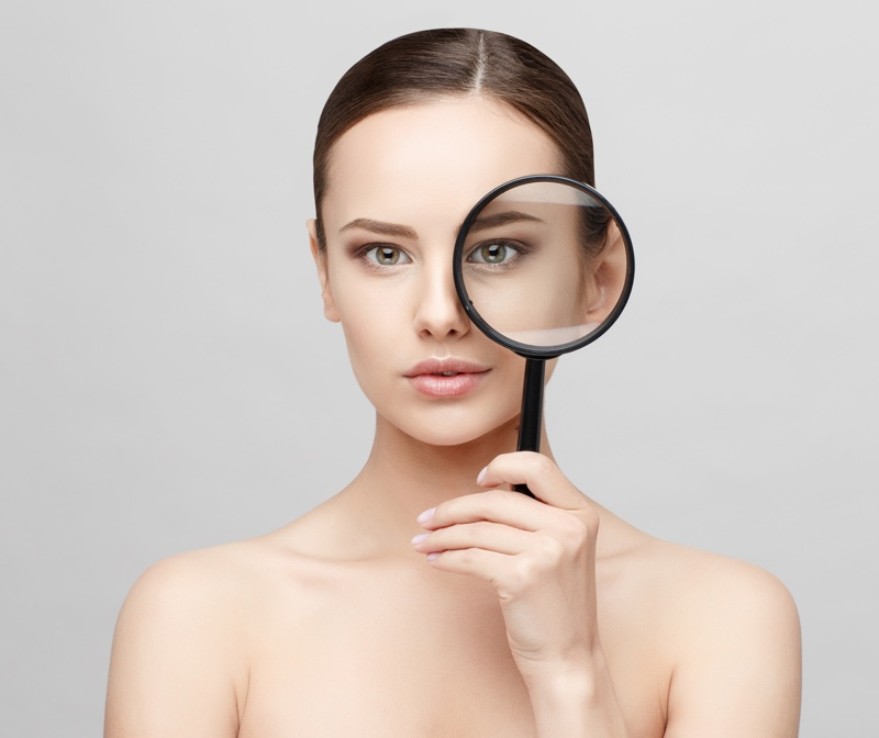 Woman Clear Fresh Skin Magnifying Glass