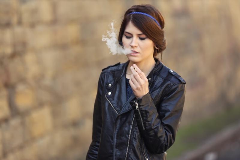 Woman Smoking Weed Leather Jacket