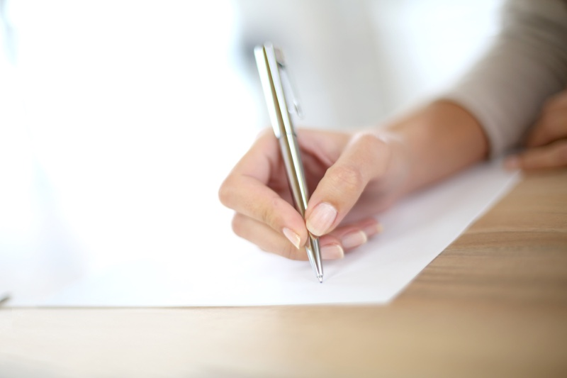 Woman Writing Pen Paper