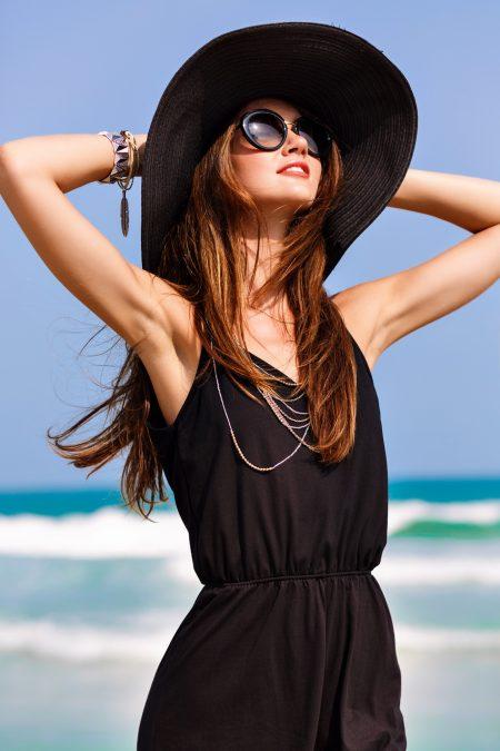 Womens Chic Black Romper Hat Summer