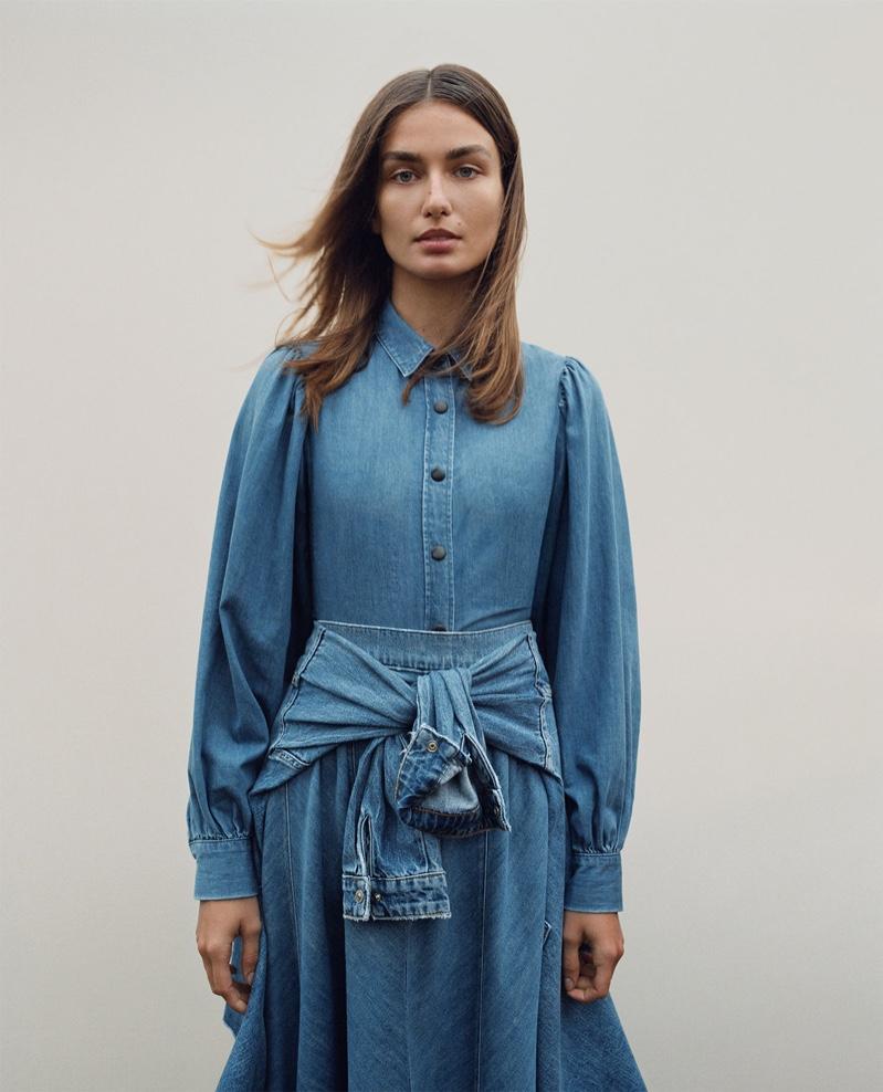 Zara Balloon Sleeved Shirt and ZW Premium Swing Denim Skirt