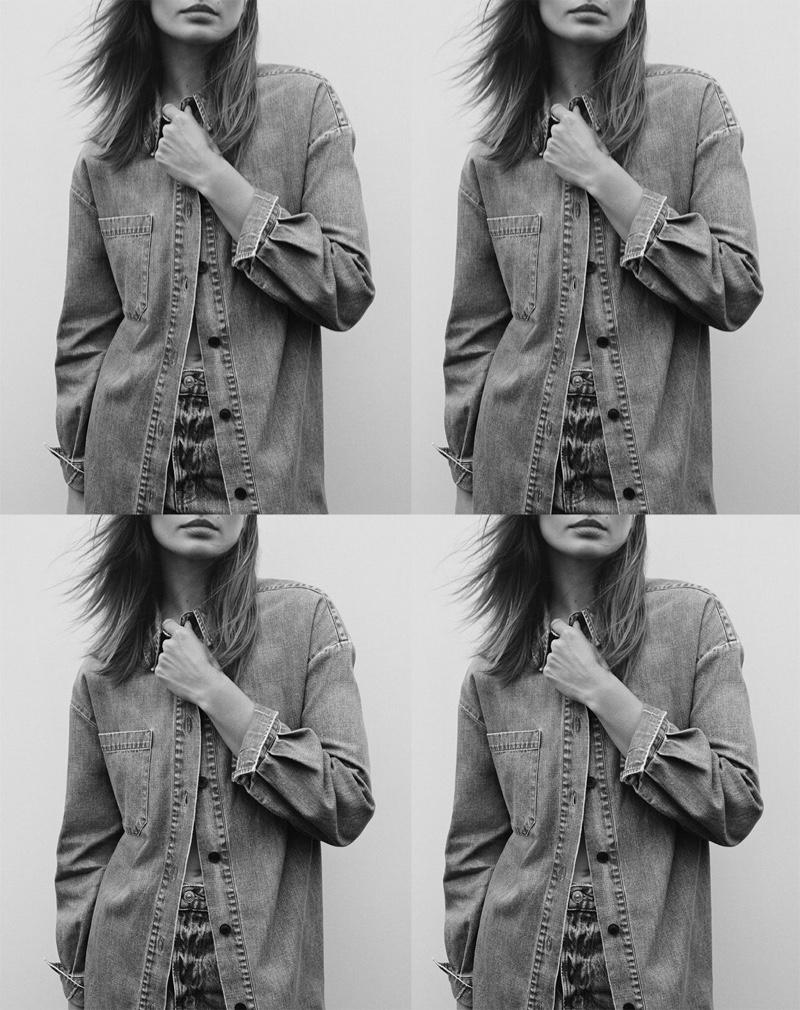 Andreea Diaconu wears Zara long denim shirt
