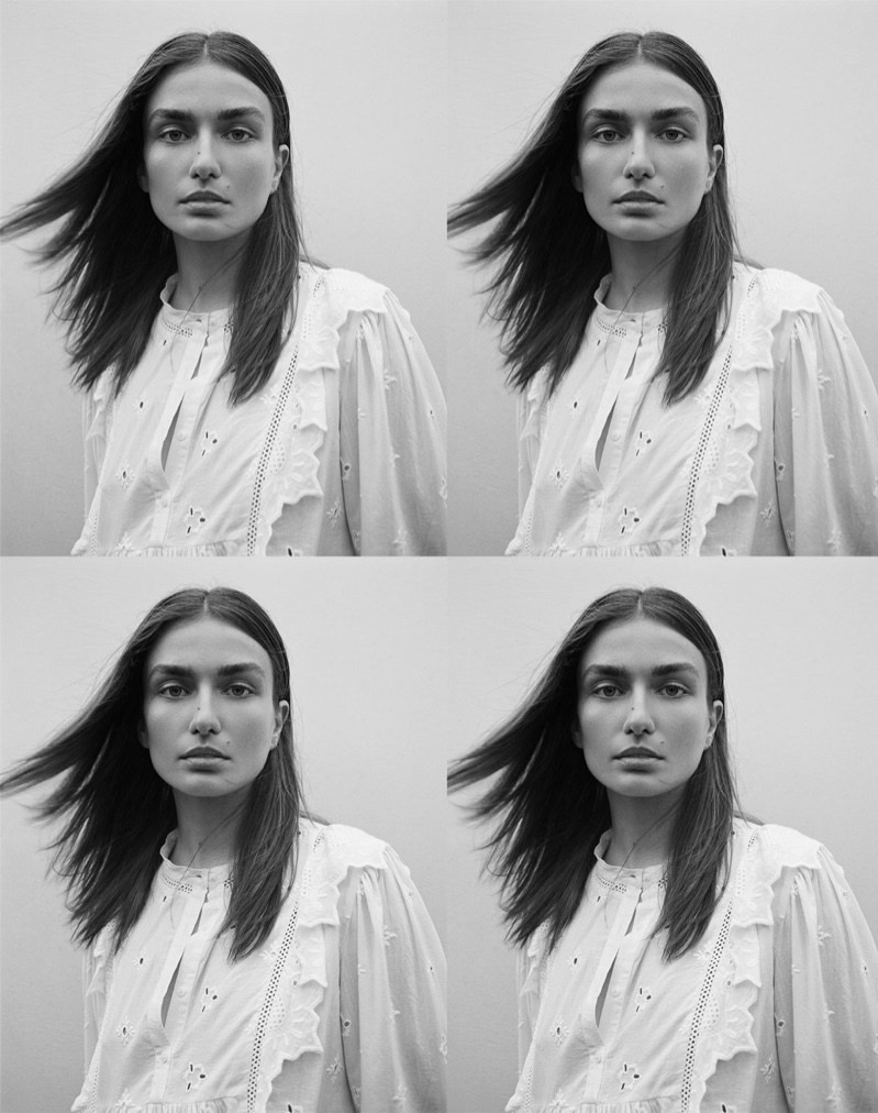 Andreea Diaconu models Zara embroidered top with ruffles