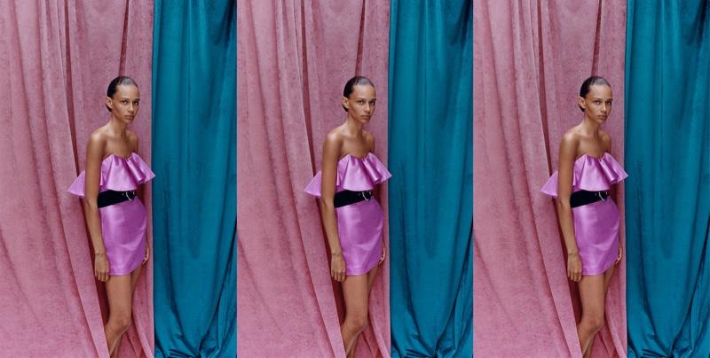 Binx Walton poses in Zara ruffled mini dress
