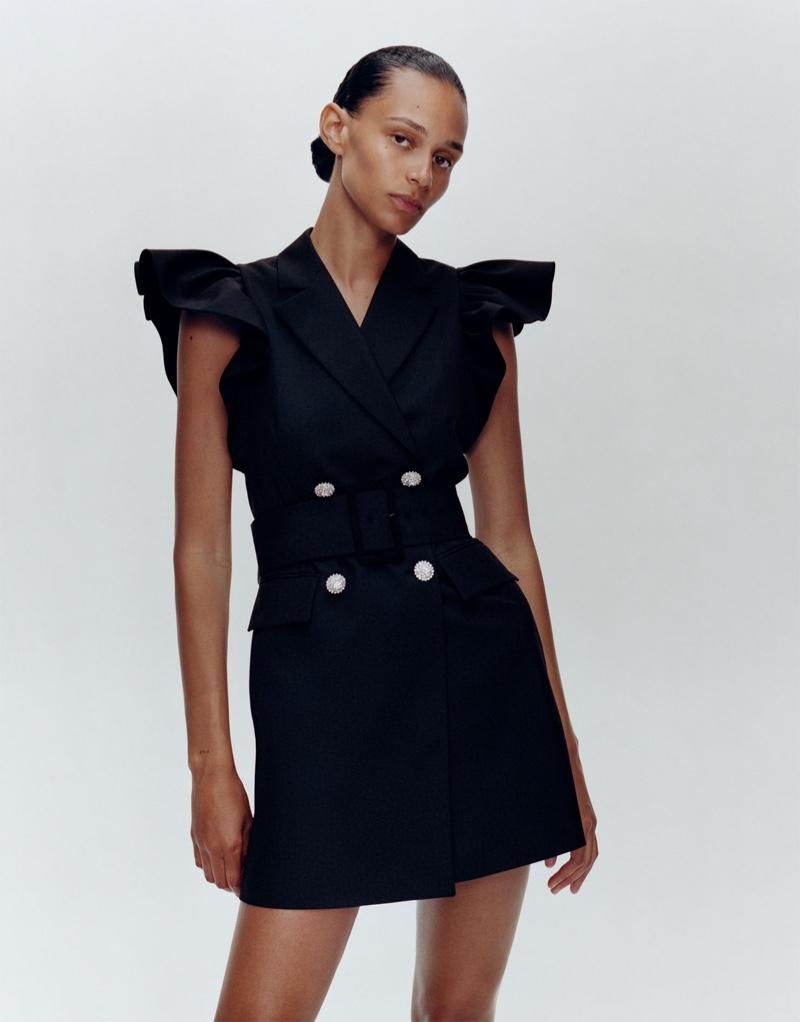 Binx Walton models Zara ruffled waistcoat dress