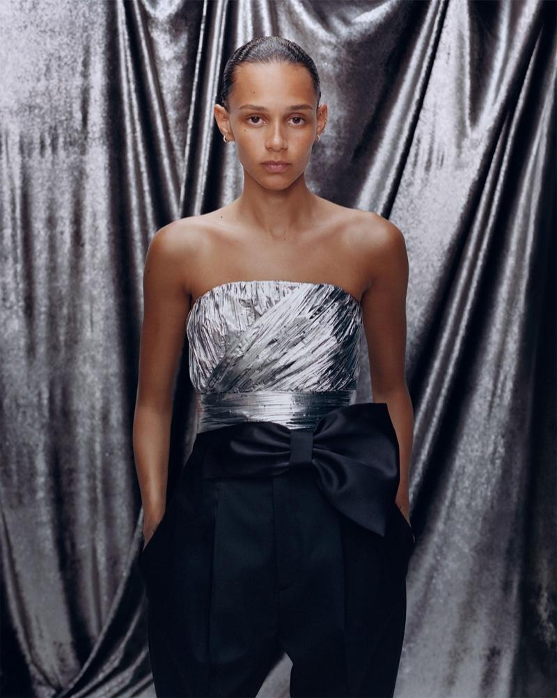 Binx Walton poses in metallic styles from Zara's summer 2019 collection