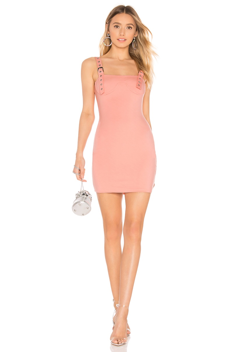 h:ours Amya Mini Dress in Pink Blush $138