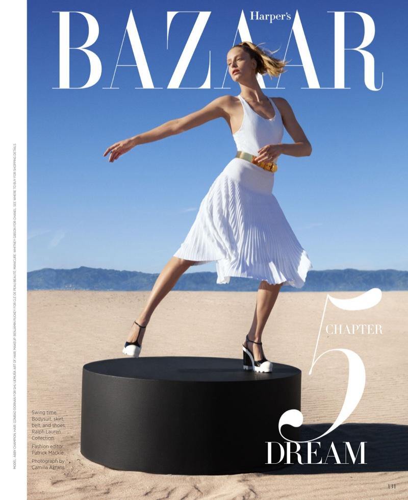 Abby Champion Looks Pretty in Pleats for Harper's Bazaar