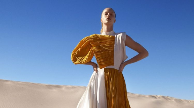 Abby Champion Looks Pretty in Pleats for Harper's Bazaar