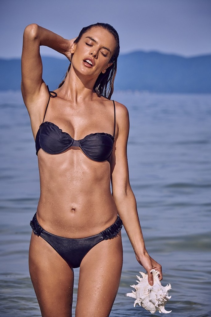Flaunting her bikini body, Alessandra Ambrosio poses in the Natural Mystic line from Gal Floripa