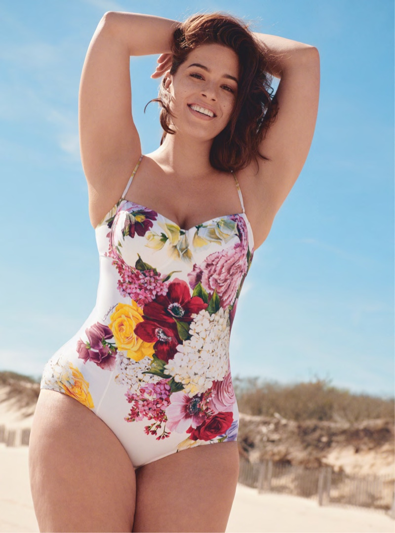 Ashley Graham Wears Retro Swim Style for Harper's Bazaar UK