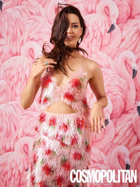 Looking pretty in pink, Aubrey Plaza wears a fringed dress