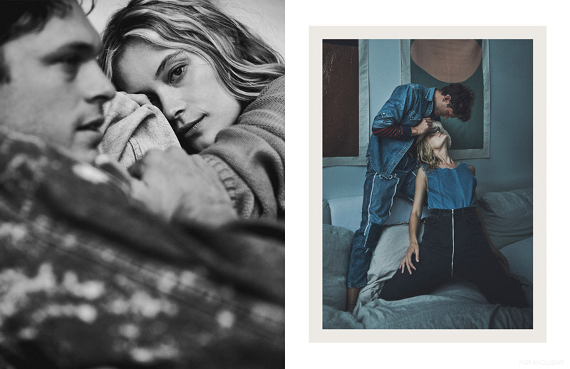 (Left) Barbara wears Sweater Acne (Right) Mihaly wears Top Levi's and Jeans Reworks. Barbara wears Reworks. Photo: Thomas Wolfe Northcut
