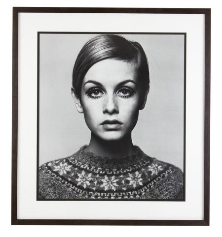 A framed print of Twiggy photographed by Barry Lategan