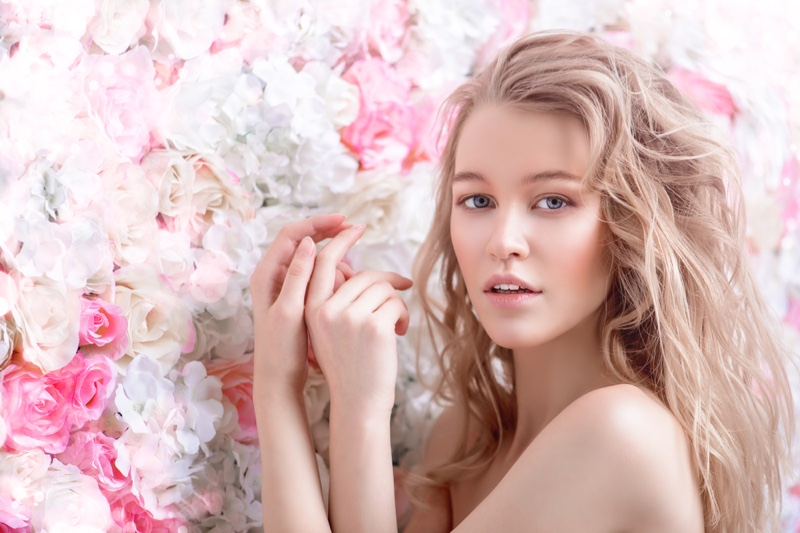 Beauty Model Clear Skin Blonde Flowers