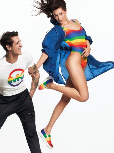 Bella Hadid Sports the Rainbow in Michael Kors Pride Collection