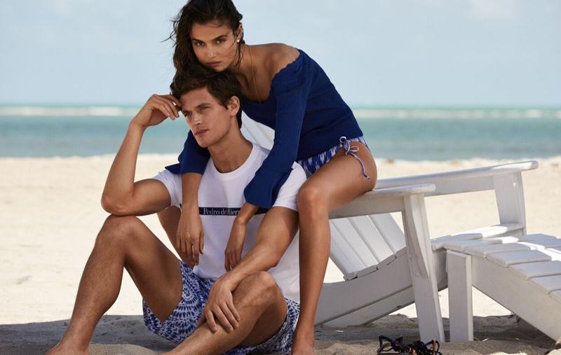Models Blanca Padilla and Garrett Neff pose for Pedro del Hierro summer 2019 editorial