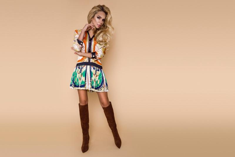 Blonde Model Patchwork Dress Brown Boots