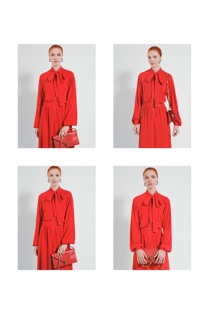 Dressed in red, Mariacarla Boscono fronts Burberry pre-fall 2019 campaign