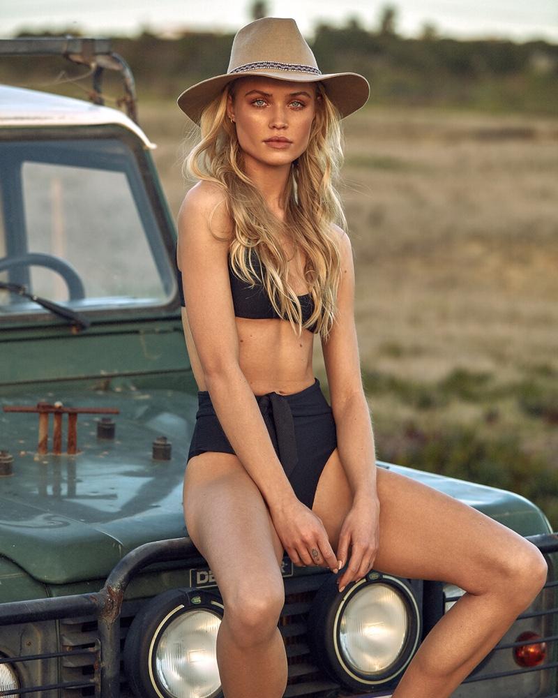 Channeling safari style, Camilla Christensen fronts Latitid Swim campaign