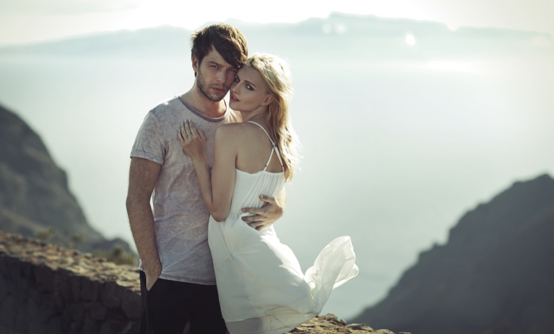 Couple Embracing Attractive Girl White Dress