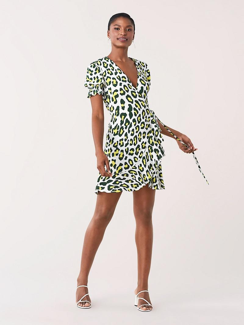 DVF Emilia Ruffled Crepe Mini Wrap Dress $248
