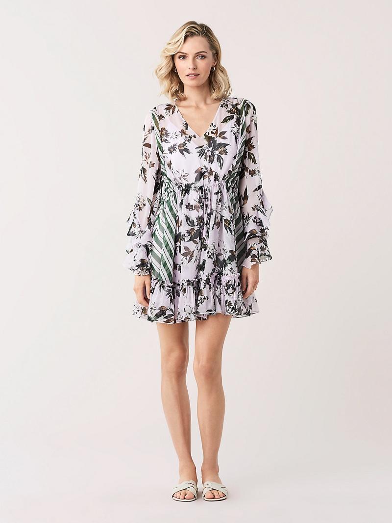 DVF Harlow Ruffled Chiffon Mini Dress $548