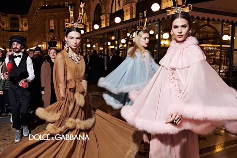 Models channel retro glamour for Dolce & Gabbana fall-winter 2019 campaign