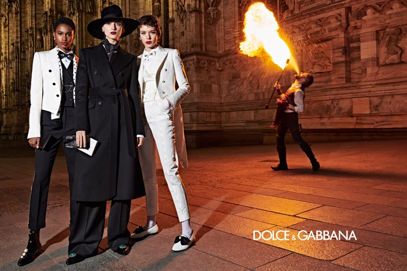 Models suit up in Dolce & Gabbana fall-winter 2019 campaign