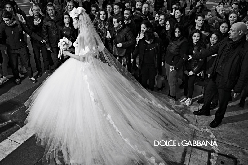 A wedding dress is featured in Dolce & Gabbana's fall-winter 2019 campaign