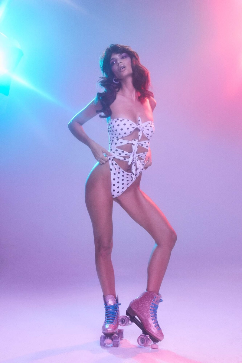 Wearing roller skates, Emily Ratajkowski poses for Inamorata Swim summer 2019 campaign