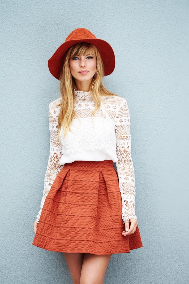 Fashion Model Lace Top Orange Skirt Hat
