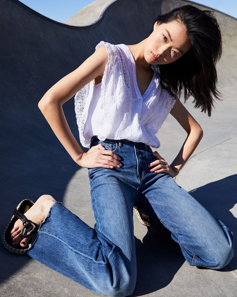 FRAME Sleeveless Lace Blouse $255 and Heritage Wide-Leg Raw-Edge Jeans $275
