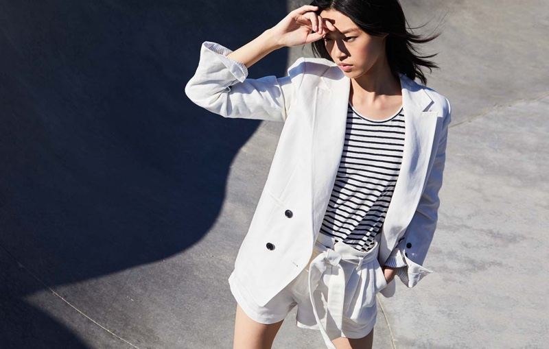 FRAME Linen/Cotton Boyfriend Blazer $575, Striped Army Tank $95 and High-Rise Tie-Up Shorts $250