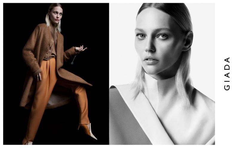 Sasha Pivovarova poses in the studio for Giada fall-winter 2019 campaign