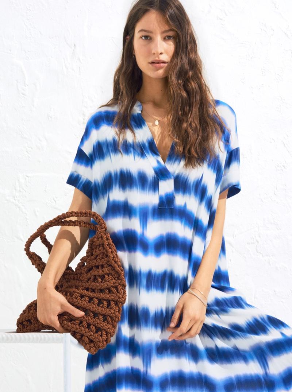 H&M Kaftan Dress in tie-Dye Print