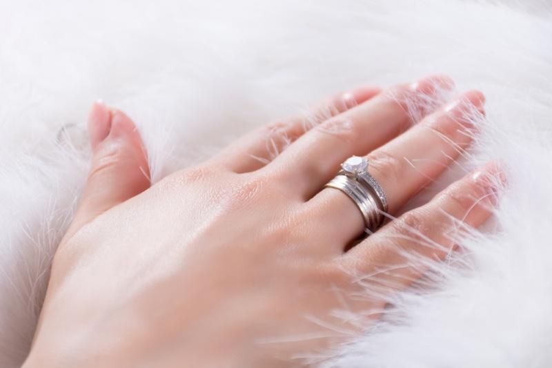 Hand Wedding Band Engagement Ring Nails