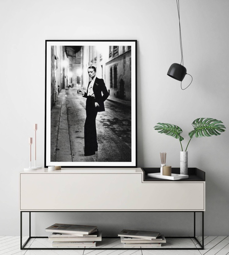 A framed print of Helmut Newton's Le Smoking