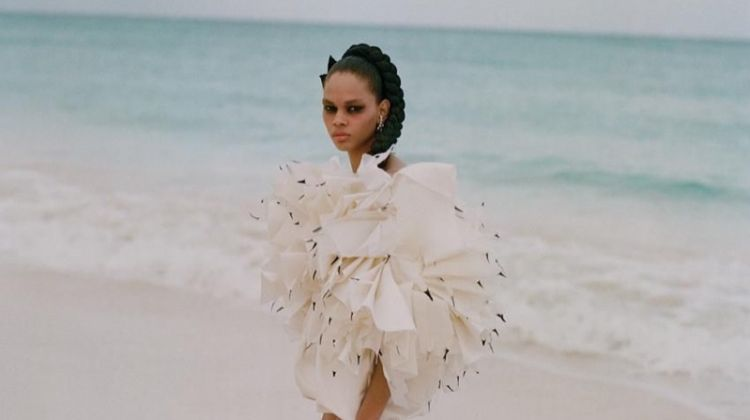 Hiandra Martinez Takes Haute Couture to the Beach for WSJ. Magazine
