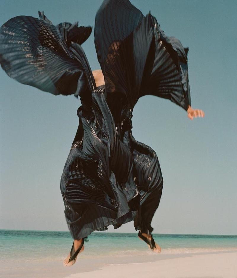 Hiandra Martinez Takes Haute Couture to the Beach for WSJ. Magazine