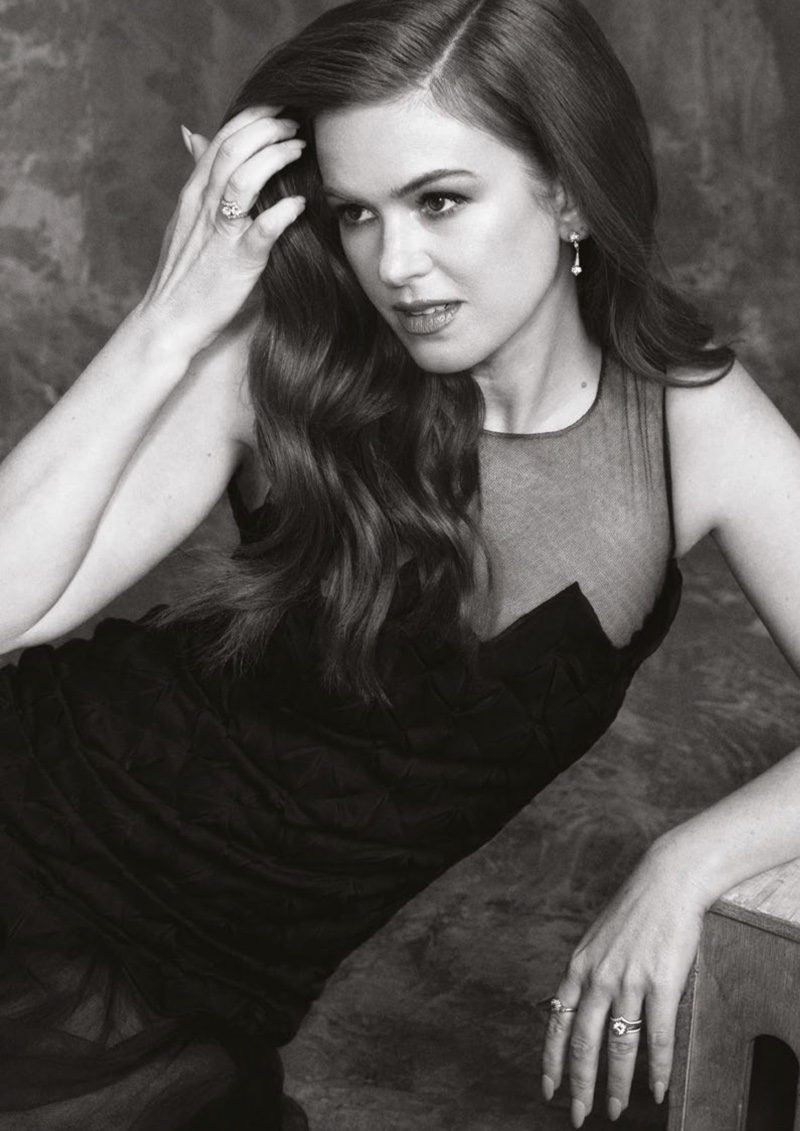 Photographed by Angelo D'Agostino, Isla Fisher wears Chanel dress