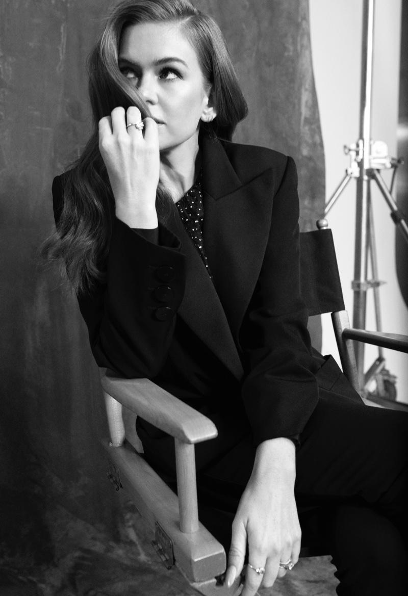 Isla Fisher poses in Saint Laurent blazer and Carmen March skirt