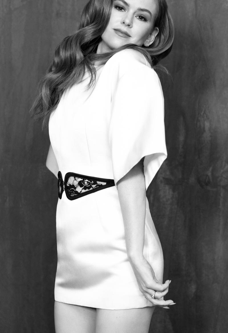 Actress Isla Fisher wears Christopher Kane dress and belt