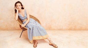J. Crew Tiered Maxi Dress in Royal Block Print $118 and Studded Wrap Sandals $158