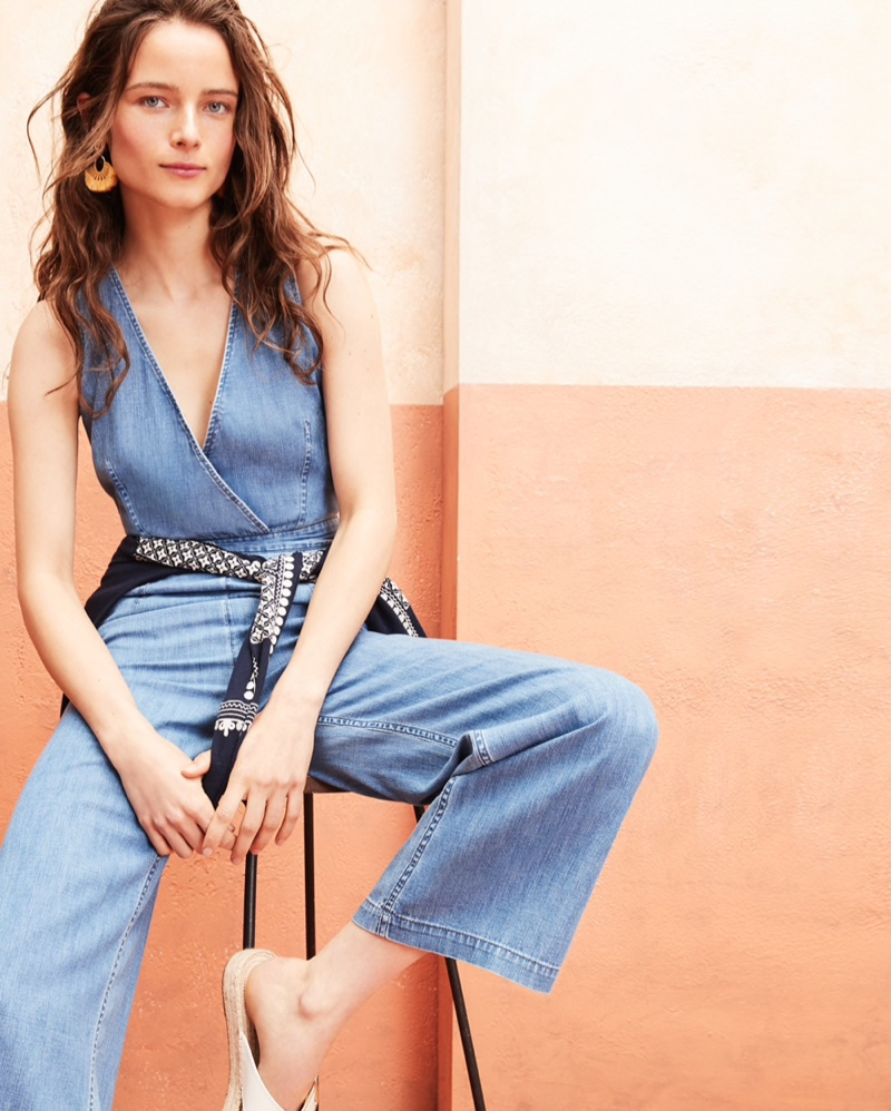 J. Crew Point Sur Wide-Leg Tailored Jumpsuit $128, Embroidered Eyelet Jackie Cardigan Sweater $98 and Fan Tassel Earrings $49.50
