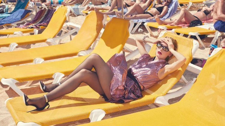 Jeske Van der Pal Poses in 1980's Beach Styles for Marie Claire Spain