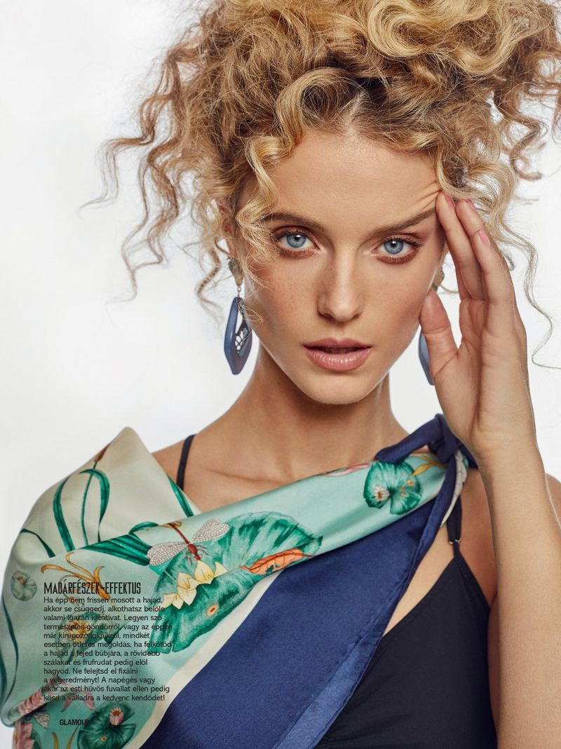 Kate Bock Models the Scarf Trend for Glamour Hungary